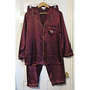 Jones New York Burgundy Satin Long Pajama Set L